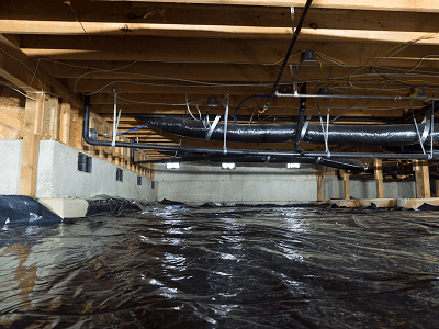 Vapor barrier installed in crawlspace american for American crawlspace reviews